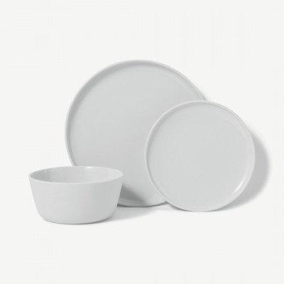 MADE.COM Leende 12-delige serviesset van porselein, mat en glimmend glazuur, wit