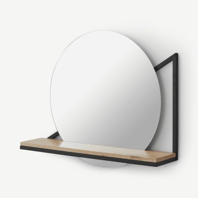 MADE.COM Huldra wandspiegel met plank van hout en metaal