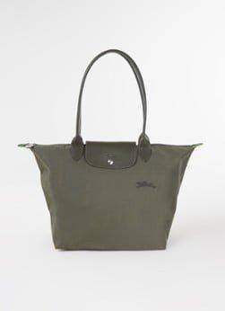 Longchamp Longchamp Le Pliage Green schoudertas L met leren details