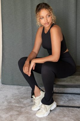 NA-KD Trend Legging Met Split En Hoge Taille - Black