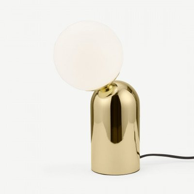 MADE.COM Vetro tafellamp, messing en opaalglas