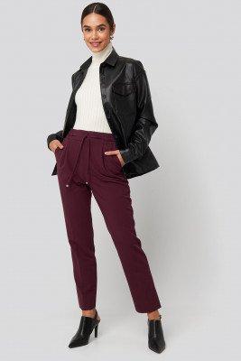NA-KD NA-KD Drawstring Front Pleat Pants - Burgundy
