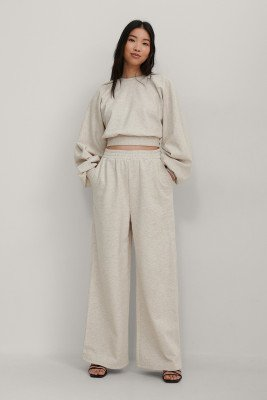 NA-KD Trend NA-KD Trend Organisch Wijde Sweatpants Met Elastische Taille - Beige