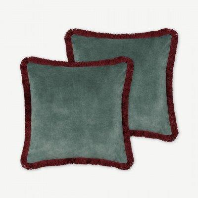 MADE.COM Kili set van 2 kussens met franjes, 45 x 45 cm, donkerturkoois en wijnrood