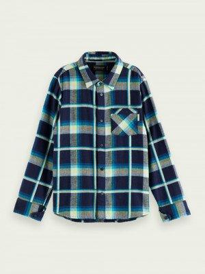 Scotch en Soda Scotch & Soda Yarn-dyed long-sleeved flannel shirt