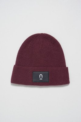 nu-in Unisex Patch Ribbed Beanie