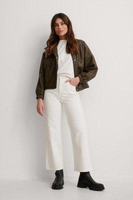 NA-KD Reborn NA-KD Reborn Organisch Jeans Met Hoge Taille - Offwhite