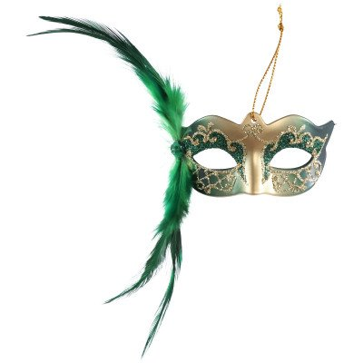 Firawonen.nl Venetian mask green hang mask with feather