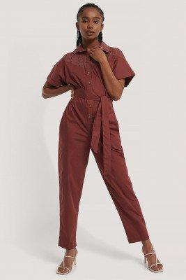 Trendyol Trendyol Jumpsuit Met Riem - Red