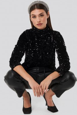 NA-KD Party Turtle Neck Sequine LS Top - Black