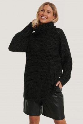 NA-KD NA-KD High Neck Pineapple Knitted Sweater - Black