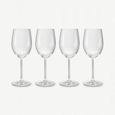MADE.COM NUDE Glassware set van 4 wijnglazen voor witte bourgogne, transparant