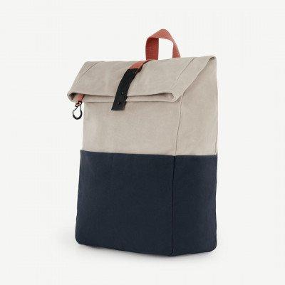 MADE.COM Lismore canvas rugzak, steengrijs, marineblauw en baksteenrood