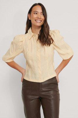 NA-KD NA-KD Blouse Met Pofmouwen En Shirtdetail - Beige