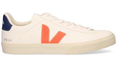 VEJA VEJA Campo Chromefree Leather Wit/Oranje Herensneakers