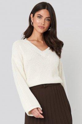 NA-KD NA-KD Cropped V-neck Knitted Sweater - White