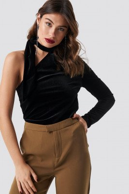 NA-KD Party Velvet One Shoulder Top - Black