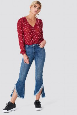 Rut&Circle Raw Asymmetric Hem Jeans - Blue