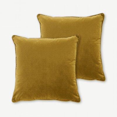MADE.COM 2 x Julius kussens, 45 x 45 cm, goudkleurig fluweel