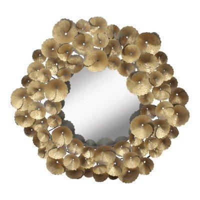 Ptmd jayne goud ijzeren bladeren spiegel rond