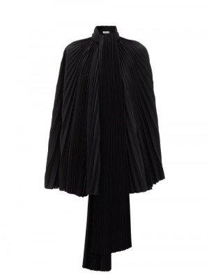 Matchesfashion Balenciaga - Pleated-satin Cape Top - Womens - Black
