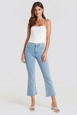 NA-KD Raw Hem Kick Flare Jeans - Blue
