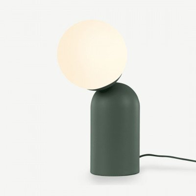 MADE.COM Vetro tafellamp, pauwgroen en opaalglas