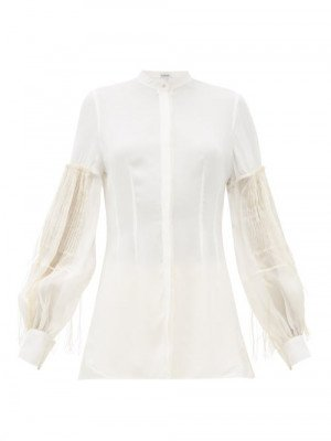 Matchesfashion Loewe - Embroidered Pleated-sleeve Crepe Blouse - Womens - White