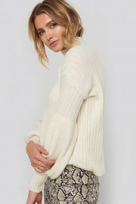 Trendyol High Neck Volume Cuffs Knitted Sweater - White