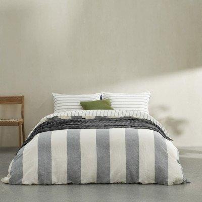 MADE.COM Kelsey gestreepte dekbedset van linnen en katoen, tweepersoons, middernachtblauw