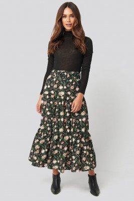 NA-KD NA-KD Belted Floral Midi Skirt - Multicolor