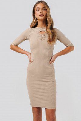 NA-KD Party NA-KD Party Chest Detail Dress - Beige