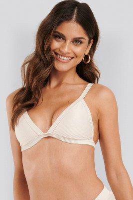NA-KD Swimwear Ribbed Triangle Bikini Bra - White