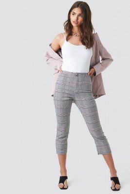 NA-KD Classic Cropped Back Slit Detail Pants - Grey