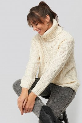 NA-KD NA-KD Cable Knitted High Neck Sweater - White