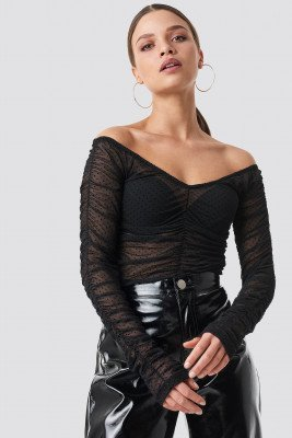 NA-KD Party NA-KD Party Off Shoulder Dotted Mesh Top - Black