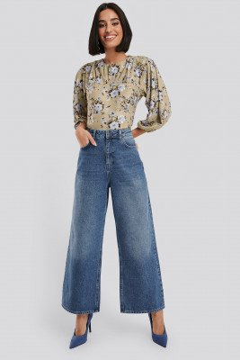 NA-KD NA-KD Straight Fit Cropped Jeans - Blue