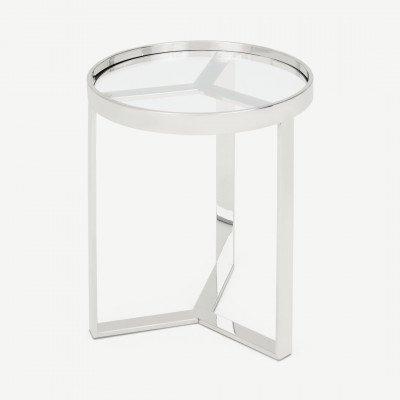 MADE.COM Aula ronde bijzettafel, chroom en glas