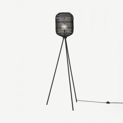 MADE.COM Java driepotige staande lamp, zwart rotan