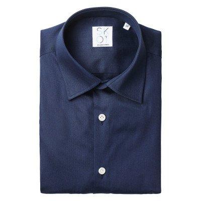 SKOT Fashion SKOT Fashion Duurzaam overhemd heren Navy Satin - Dark blauw