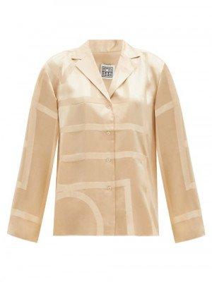 Matchesfashion Totême - Monogram-print Silk-twill Pyjama Top - Womens - Beige