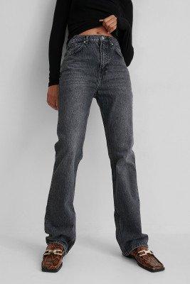 Mango MANGO Uitlopende Jeans Met Hoge Taille - Grey