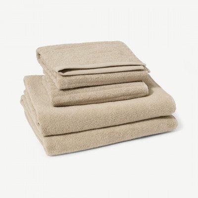MADE.COM Alto set van 4 handdoeken, 100% katoen, zandsteen