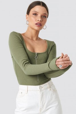 NA-KD NA-KD Long Sleeve Zipped Top - Green