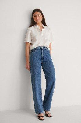 Louise Madsen x NA-KD Louise Madsen x NA-KD Rechte Jeans - Blue