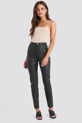NA-KD Trend NA-KD Trend Coated Cotton Pants - Black