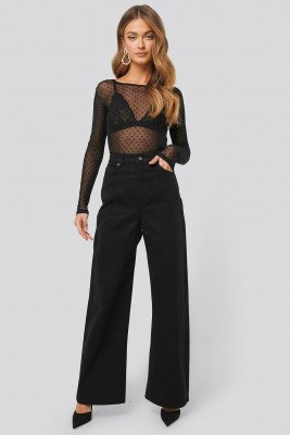 NA-KD Trend Wide Leg High Waisted Jeans - Black
