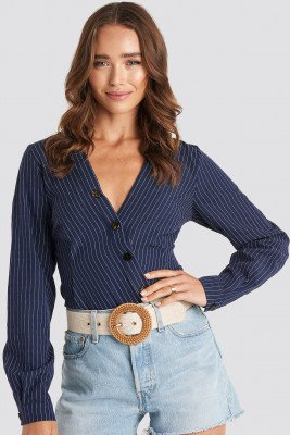 NA-KD Asymmetric Buttoned Stripe Top - Blue