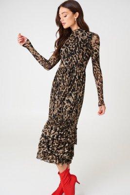 NA-KD Trend Leo Mesh Frill Dress - Multicolor