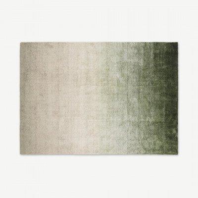 MADE.COM Tazim viscose vloerkleed, groot, 160 x 230 cm, mosgroen